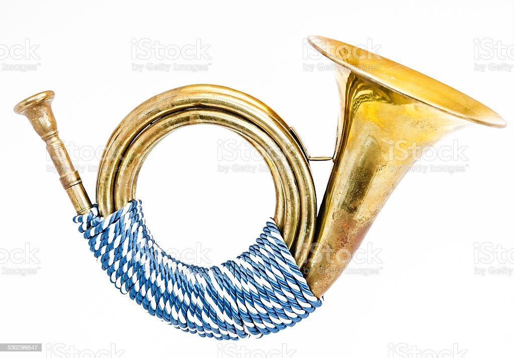 antique post horn stock photo