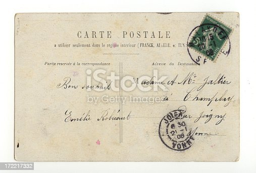 Vintage French postcard from 1908 (back of card), with handwriting, stamp, and postmarks.