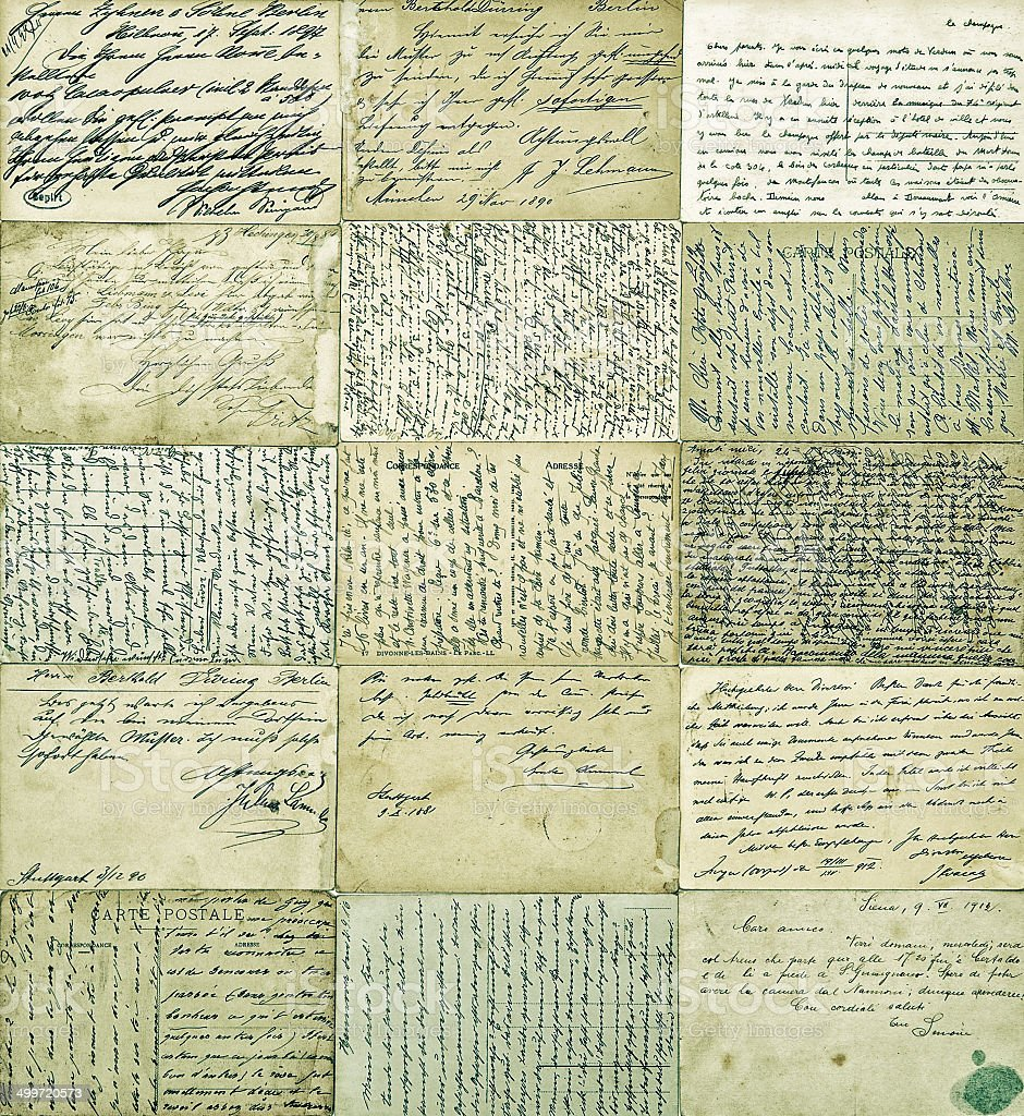 antique postcards. old handwritten undefined texts stock photo
