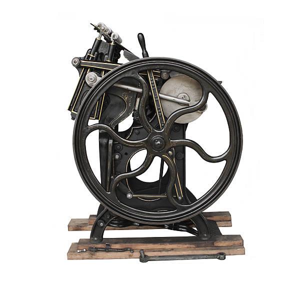 antique printing press isolated - ancient white background bildbanksfoton och bilder