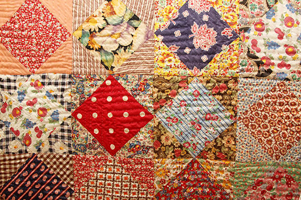 antique quilt - quilt stock photos and pictures