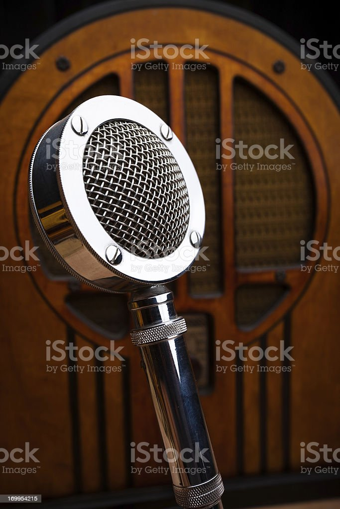 Antique Radio and Announcer's Microphone stock photo
