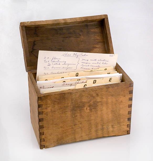 antique recipe card holder 3. stock photo