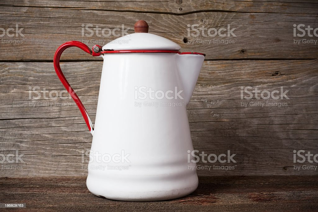 Antique Red and White Coffee Pot royalty-free stock photo