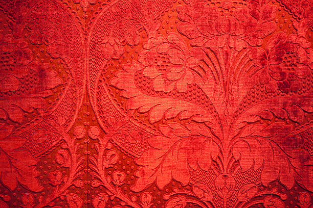 antique red velvet wall stock photo