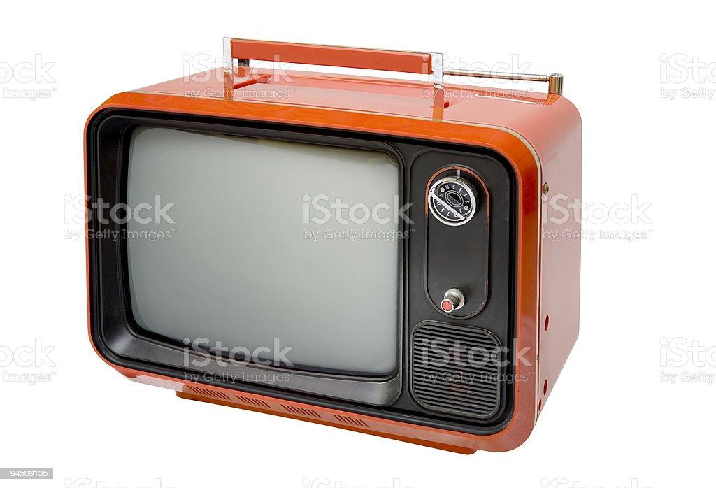 Antique retro orange television stock photo