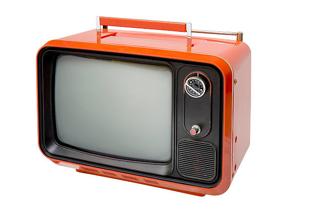 Antique retro orange television  portable television stock pictures, royalty-free photos & images