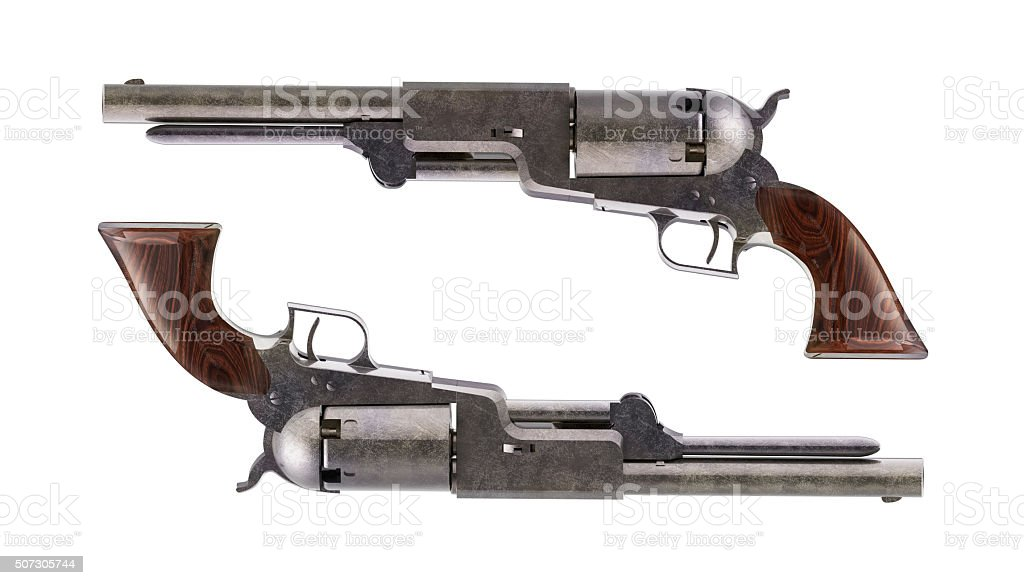 Antique revolvers for duel stock photo