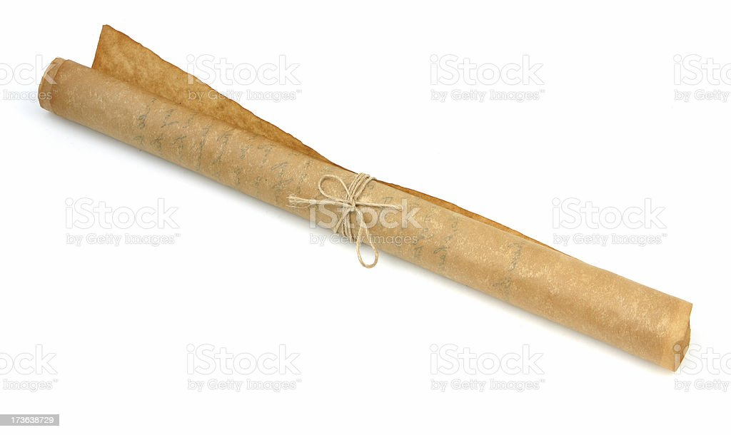 Antique Rolled Parchment  Document stock photo