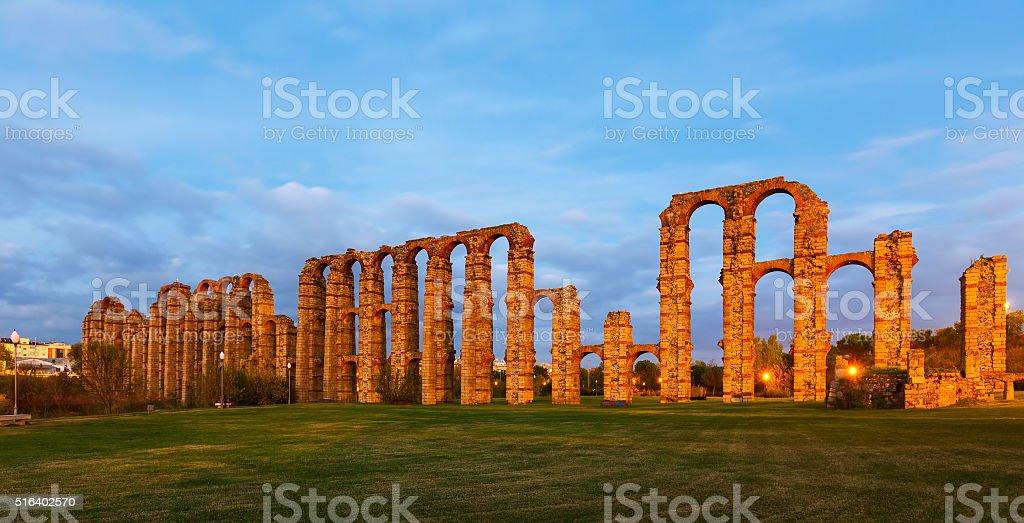 antique  Roman Aqueduct of Merida in  twilight stock photo