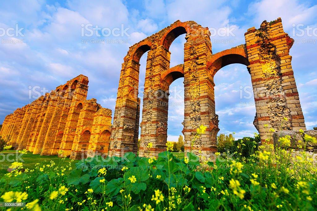 antique  roman aqueduct stock photo