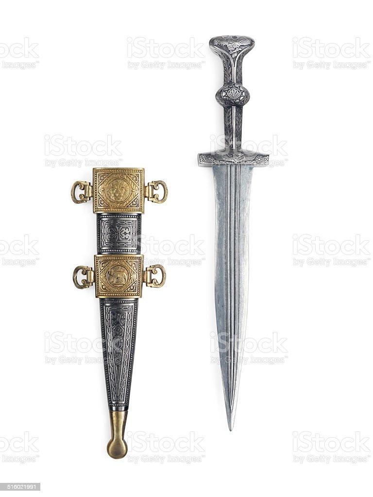Antique Roman dagger with scabbard stock photo