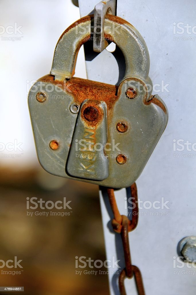 Antique Rusted Pad Lock royalty-free stock photo