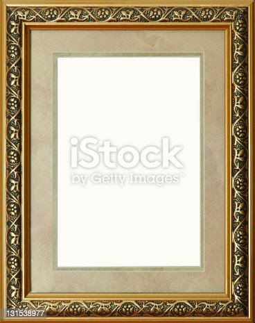 istock Antique rustic golden picture frame isolated 131538977