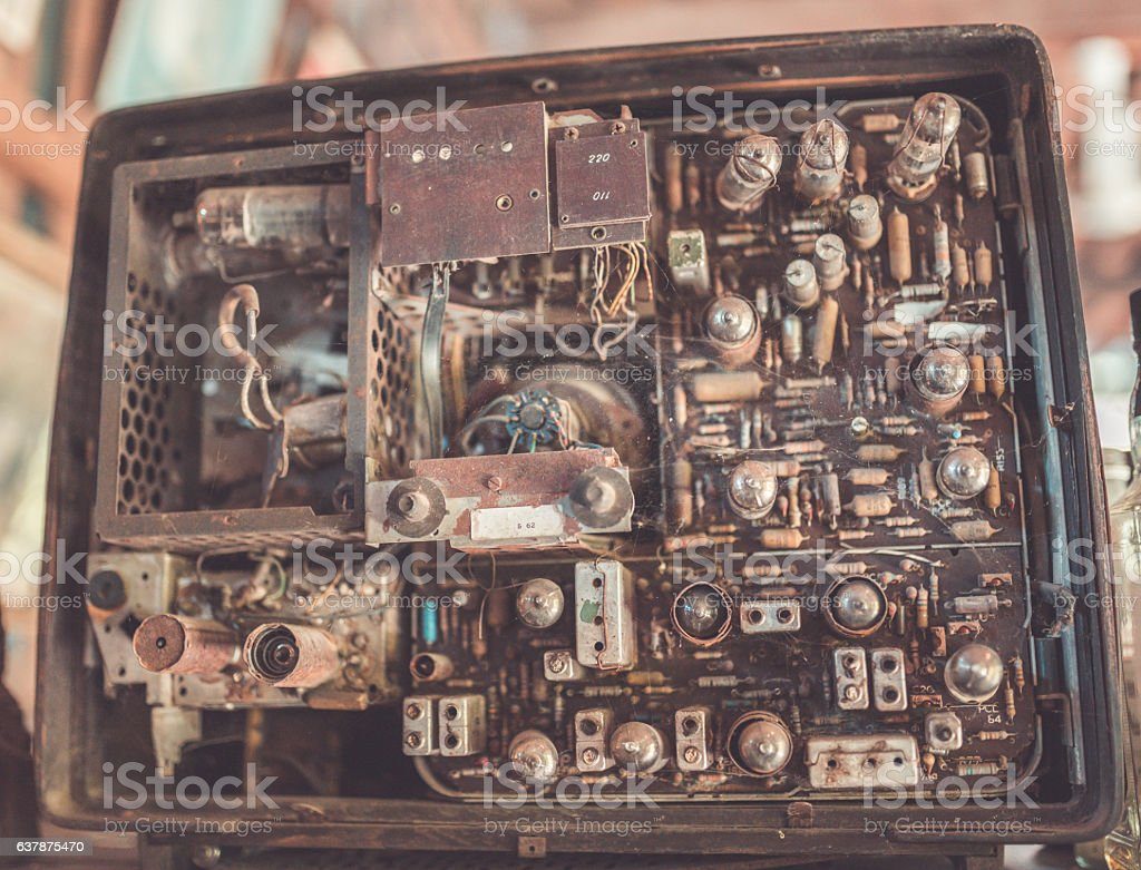 Antique Rusty Electrical Panel Circuit Grunge Television Stock Photo Boards With Clock Hands Royalty Free Image