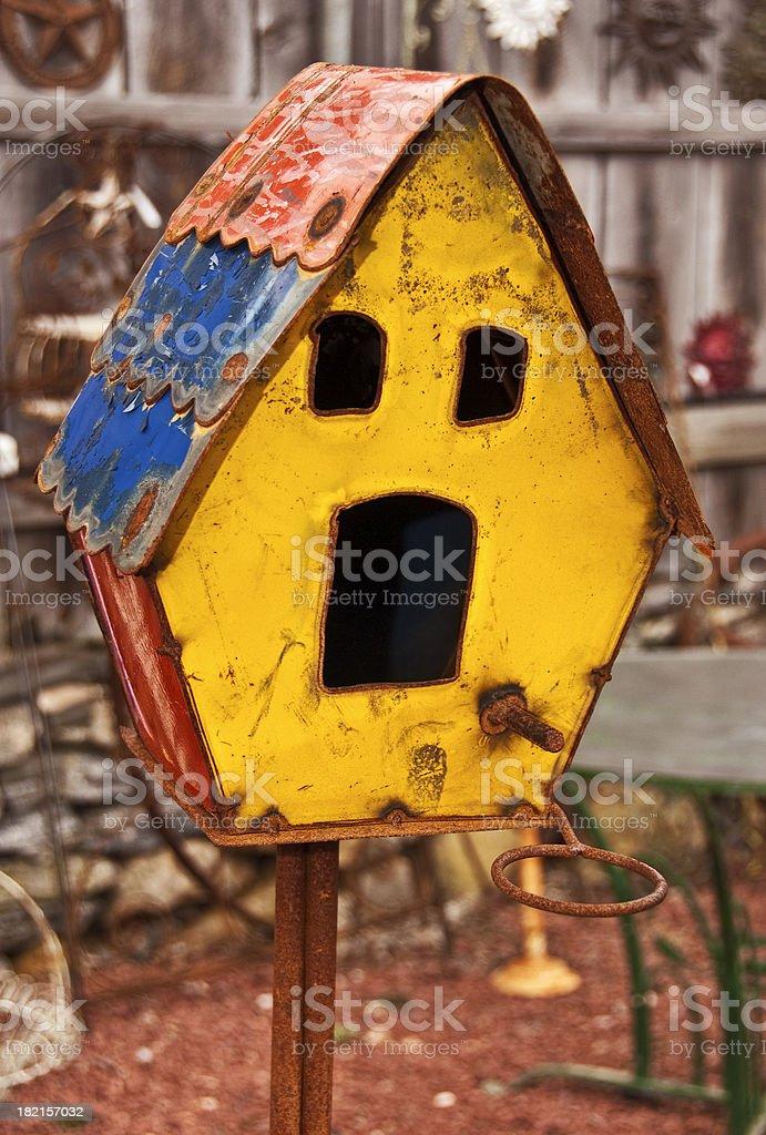 Antique Rusty Metal Birdhouse royalty-free stock photo