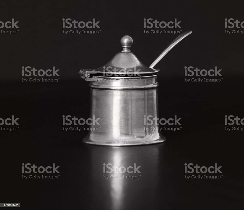 Antique salt dip with lid and spoon.  Clipping path. royalty-free stock photo