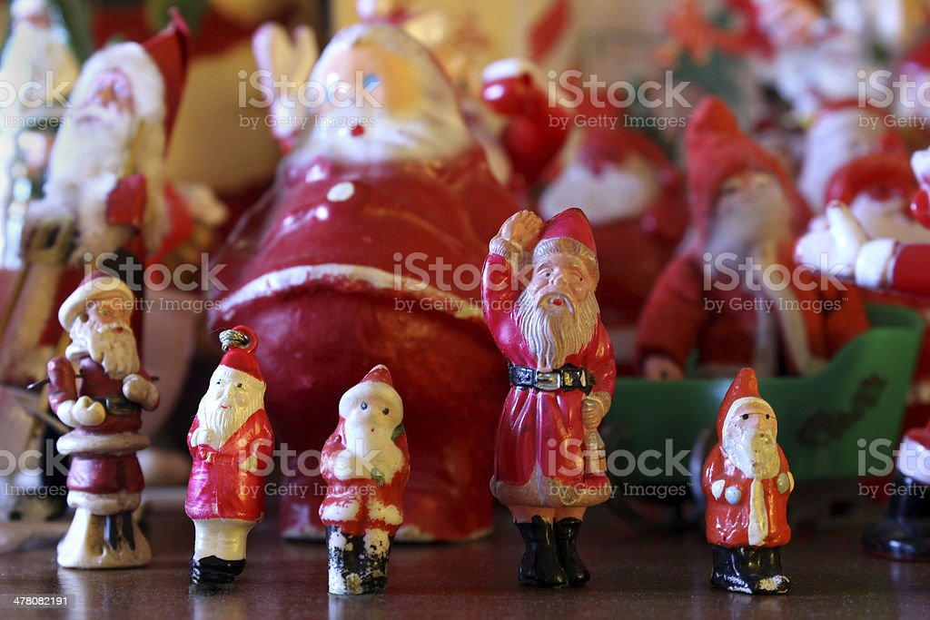 Antique Santa Claus Christmas holiday toy figurines royalty-free stock photo