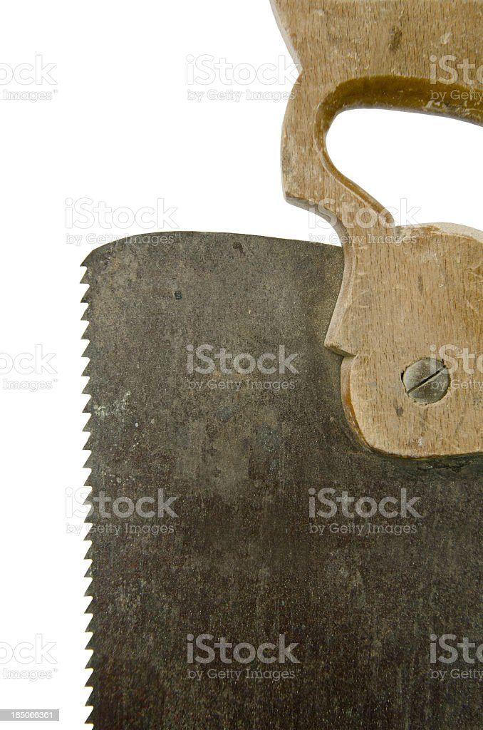 Antique Saw with Clipping Path royalty-free stock photo