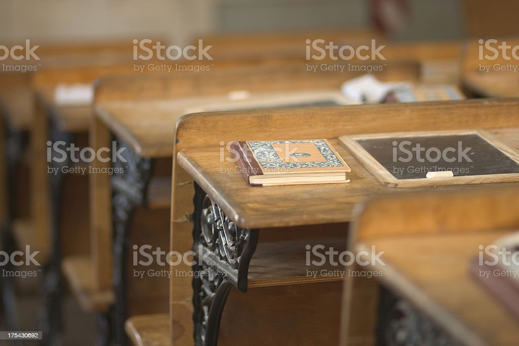 Antique school desk. royalty-free stock photo