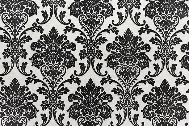 antique seamless wallpaper pattern, black - baroque stock photos and pictures
