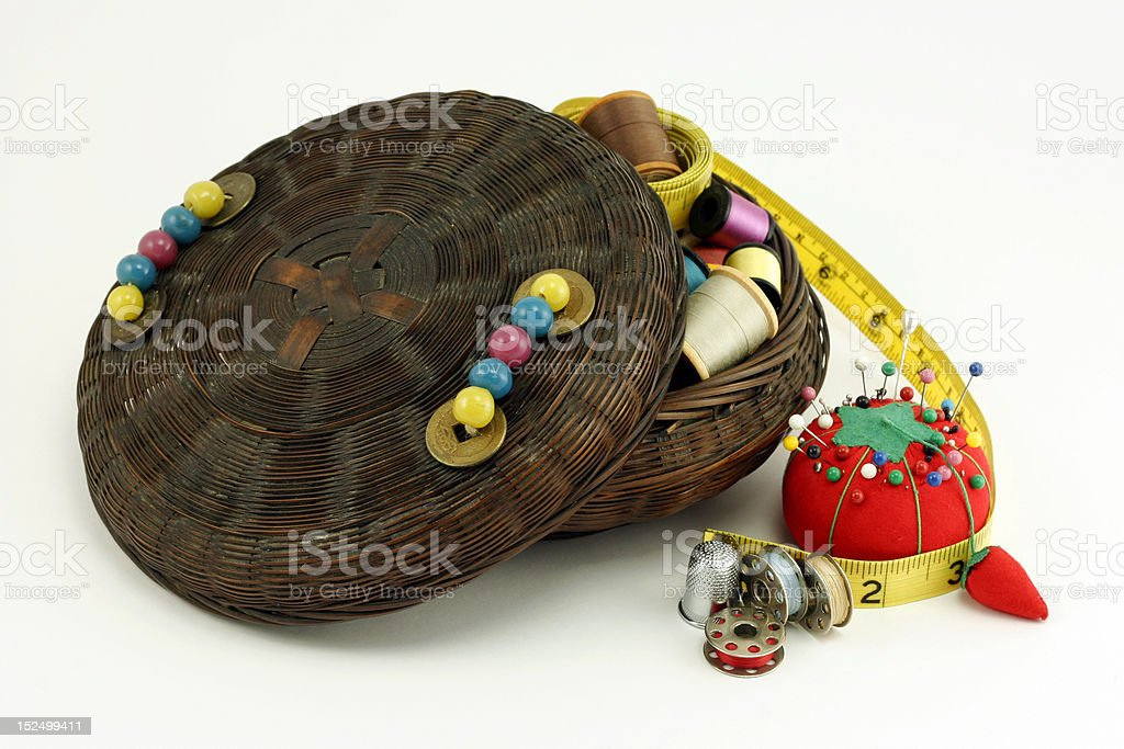 Antique Sewing Basket stock photo