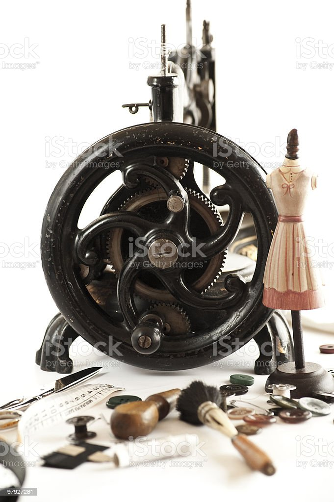 Antique sewing machine and stuff royalty-free stock photo