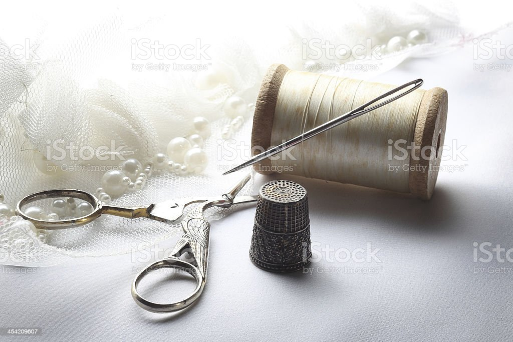 Antique Sewing Tools stock photo