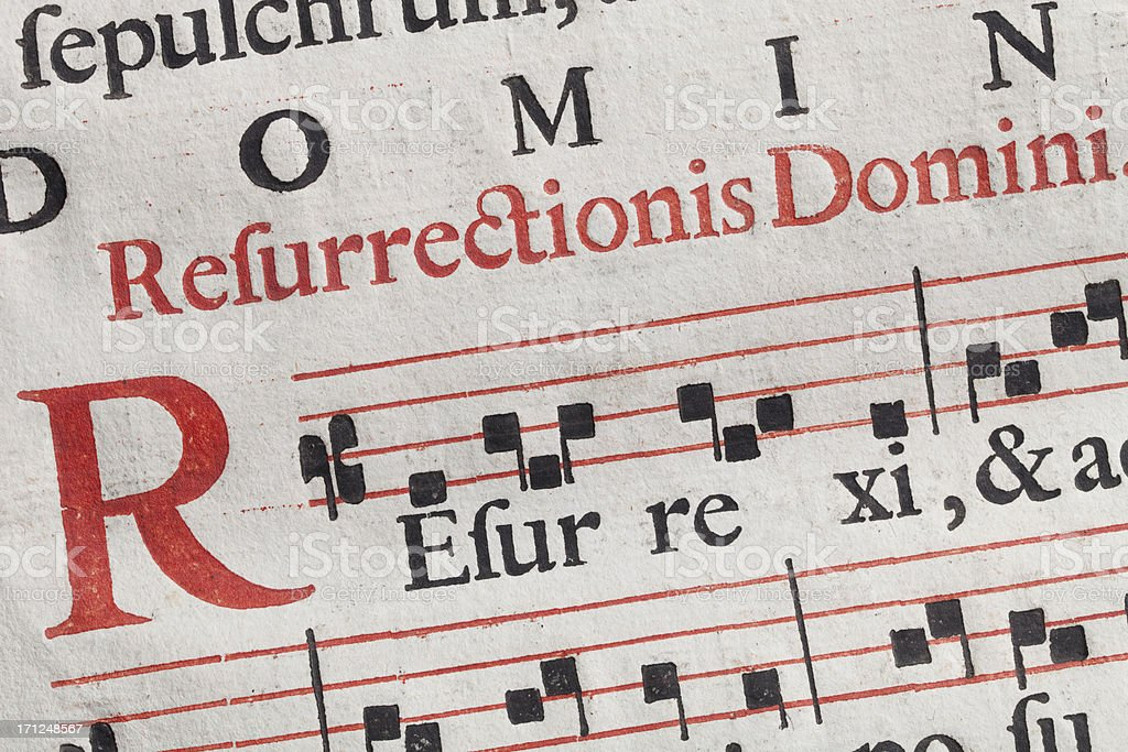 Antique sheet music. Latin hymnal parchment. royalty-free stock photo