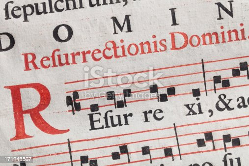 Antique sheet music. Latin hymnal parchment.Similar photographs from my portfolio: