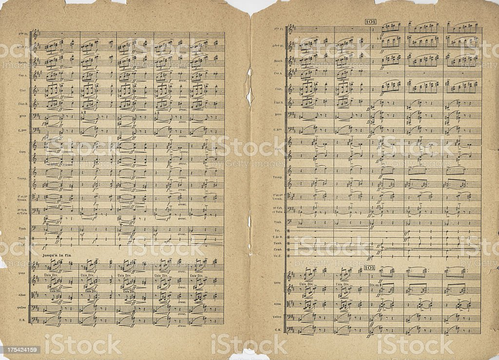 Antique Sheet Music stock photo