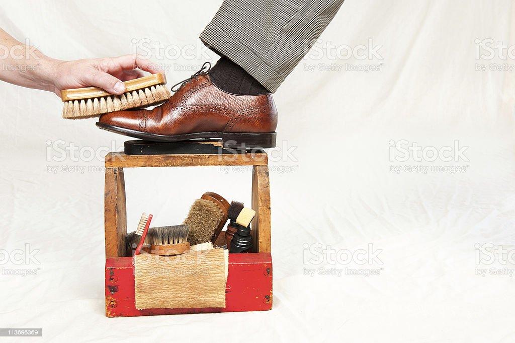 Antique shoe shine box stock photo
