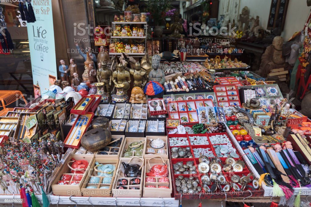 Antique Shop Display in Cat Street in Hong Kong stock photo