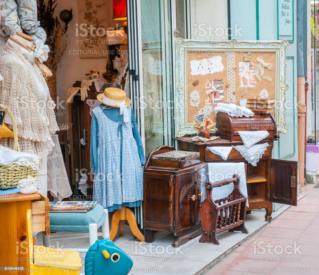 Antique shop in Brignoles, France stock photo
