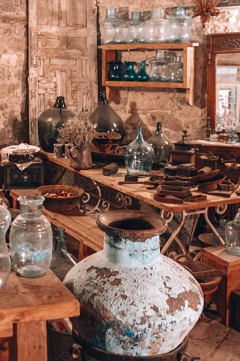 Ancient an obsolete objects in Flea market