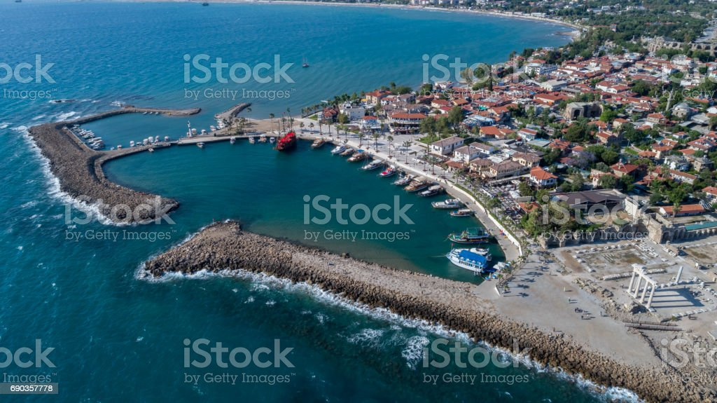 Antique side harbor aerial view stock photo