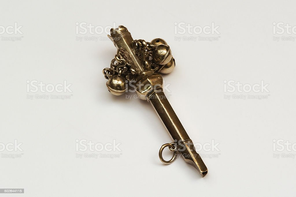 Antique Silver Baby Rattle stock photo