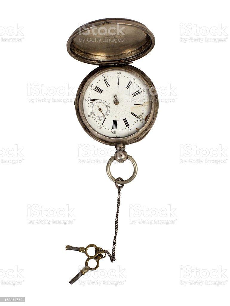 Antique silver clock. stock photo