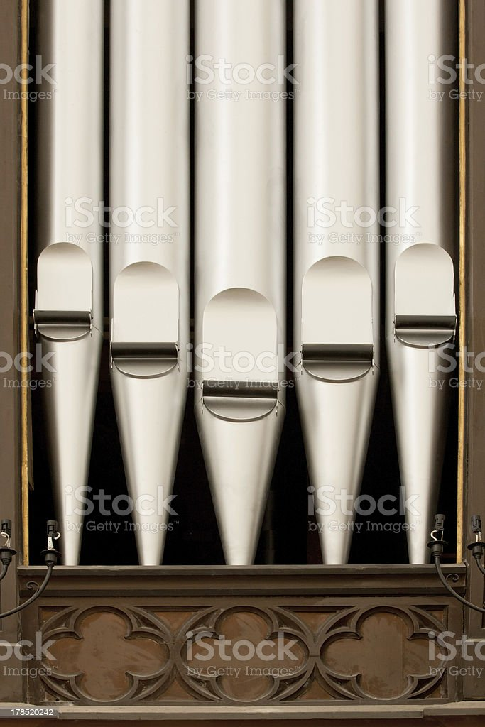 Antique silver organ pipes royalty-free stock photo