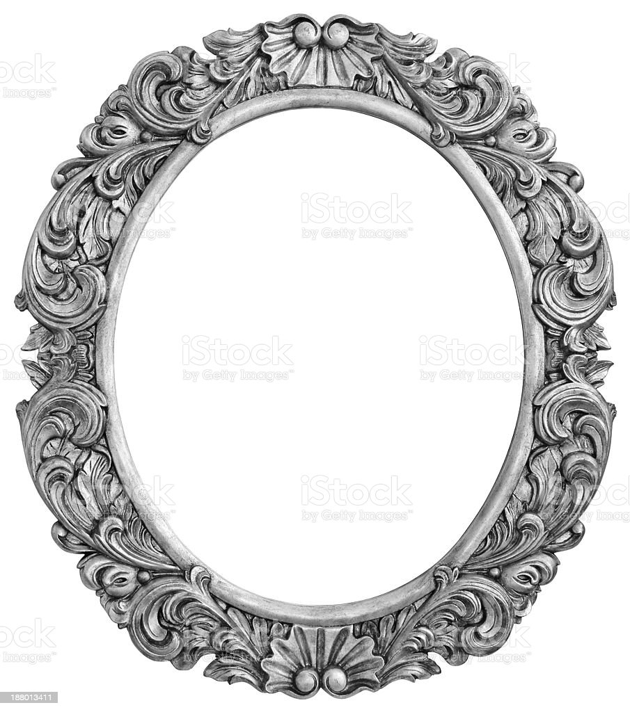 Antique silver plated frame stock photo