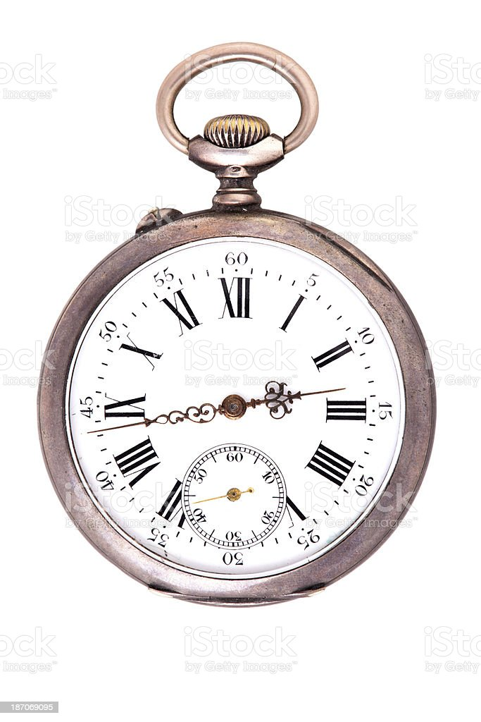 Antique Silver Pocket Watch stock photo