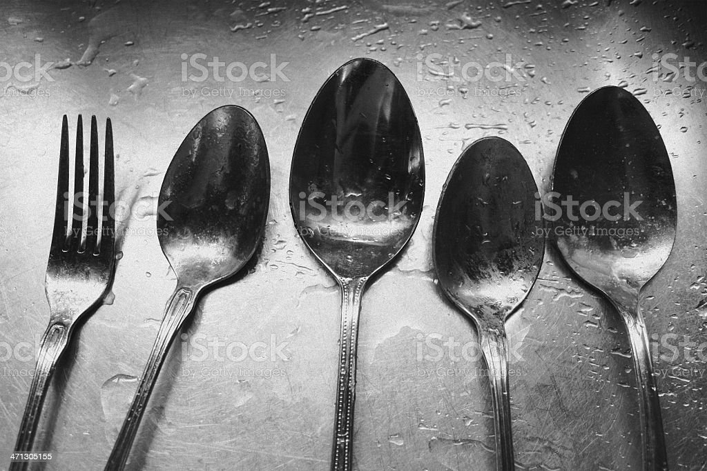 Antique Silver Spoons and Fork - Black & White stock photo
