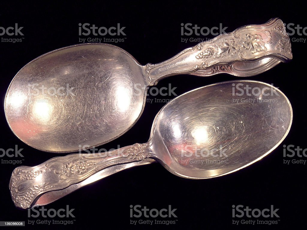 Antique Silver Spoons (2) royalty-free stock photo