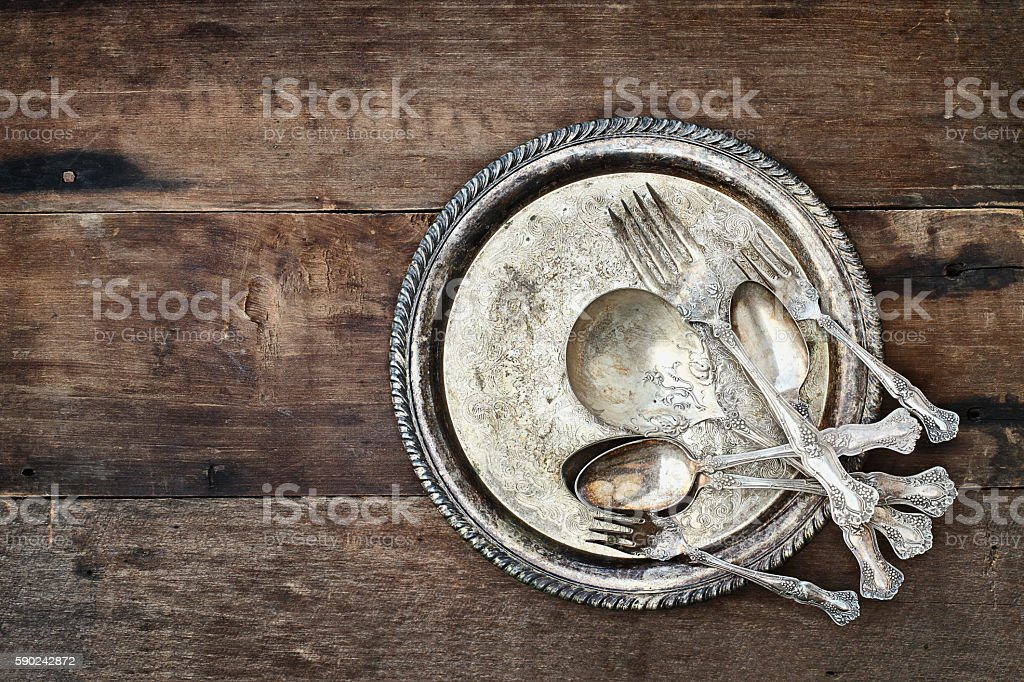 Antique Silverware and Plate stock photo