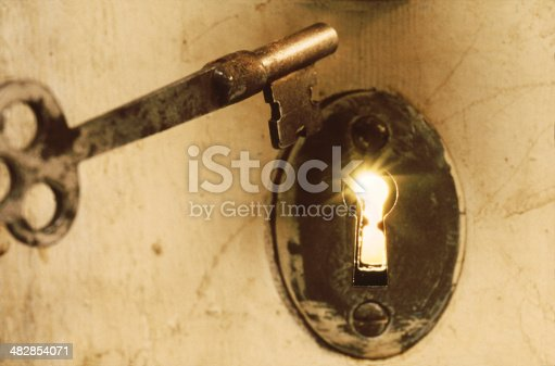 istock Antique Skeleton Key With Light Beams from Keyhole 482854071