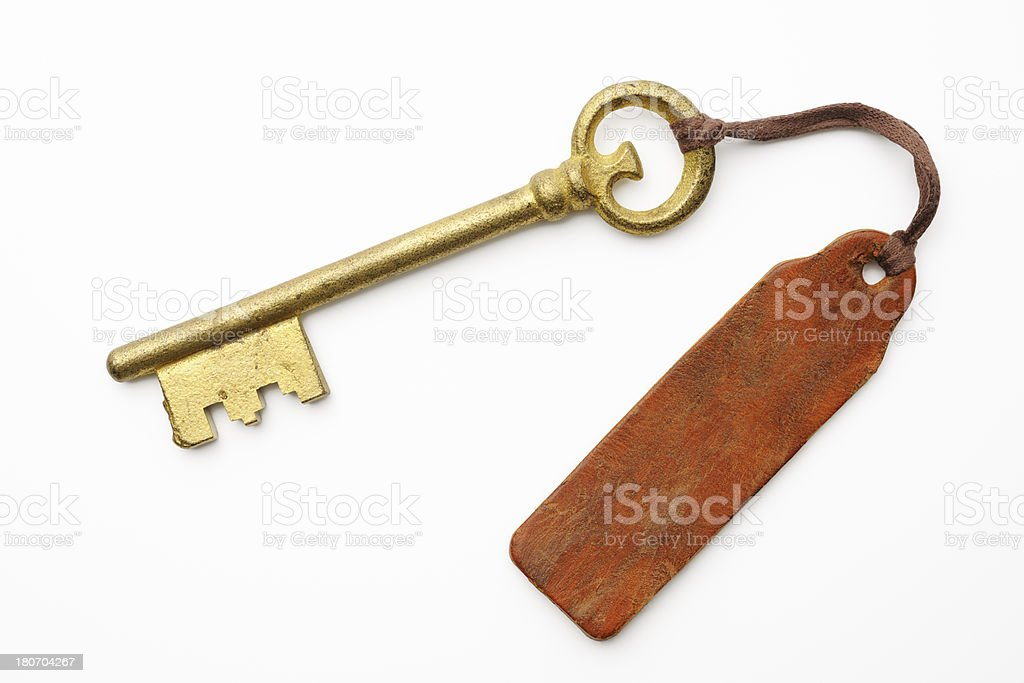 Antique skeleton key with old leather tag on white background stock photo
