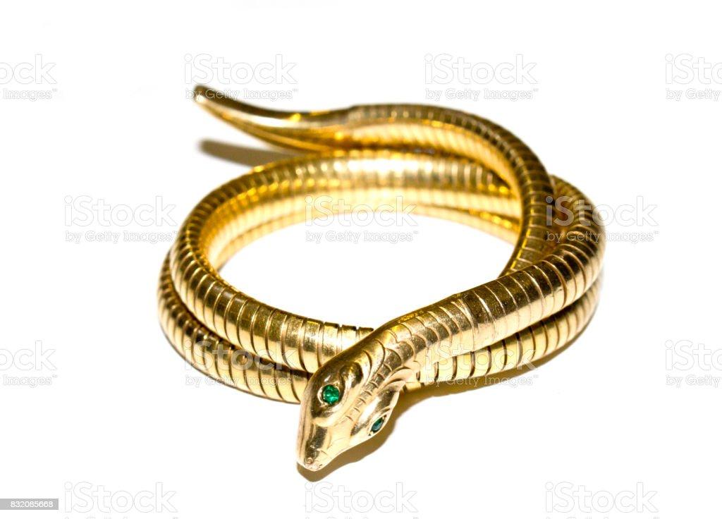 Antique Snake Bracelet Bangle on White Background stock photo