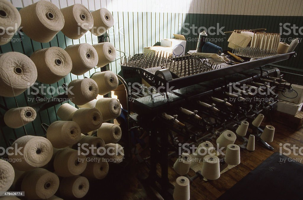 Antique Spools Cotton Thread in National Historical Park Lowell Massachussetts stock photo