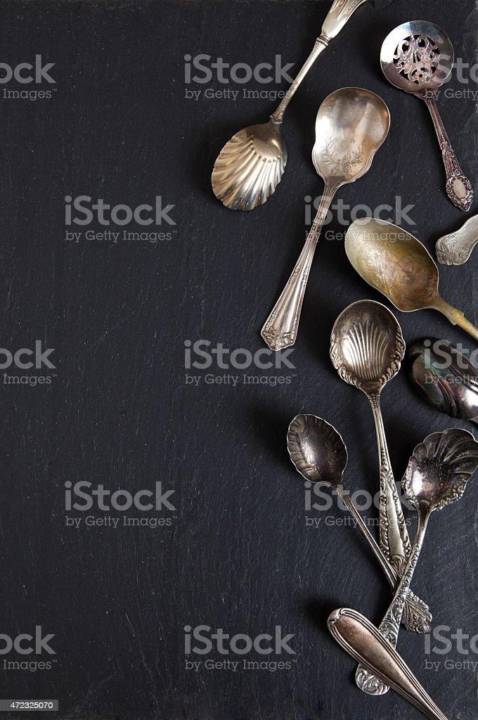 Antique Spoons stock photo