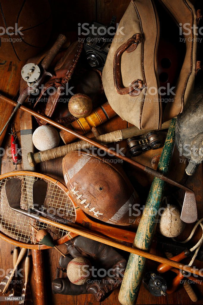 Antique Sporting Memorabilia. royalty-free stock photo